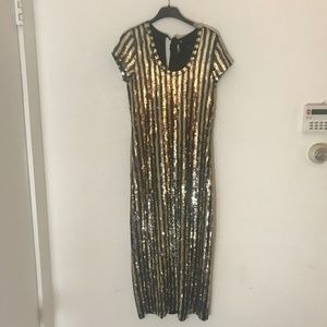 Marc Jacobs Gold and Deep Purple Sequin Dress